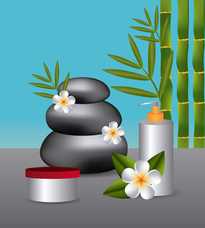 bamboo therapy: SPA design over blue background, vector illustration.