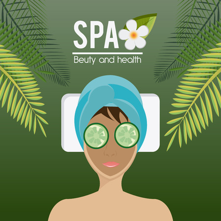 bodycare: SPA design over green background, vector illustration.