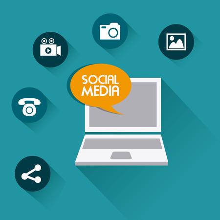 socializando: Dise�o de medios de comunicaci�n social sobre el fondo azul, ilustraci�n vectorial.