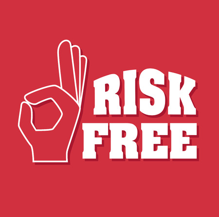risk free: Risk free design over red background, vector illustration.