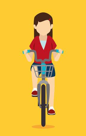mujer: Dise�o de la bici sobre el fondo blanco, ilustraci�n vectorial. Vectores