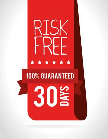 Risk free design over white background, vector illustration.