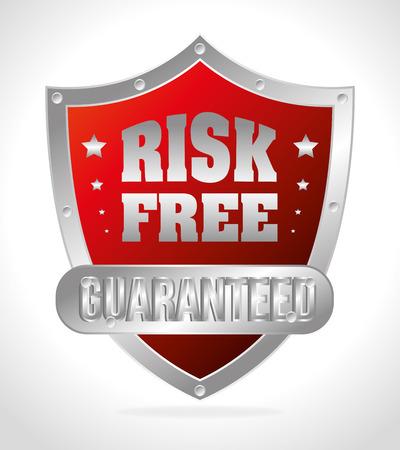 premium member: Risk free design over white background, vector illustration.