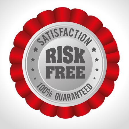 risk free: Risk free design over white background, vector illustration.