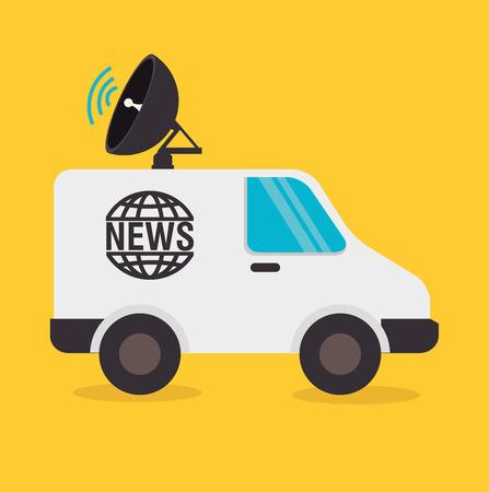 news van: Journalism design over yellow background, vector illustration.