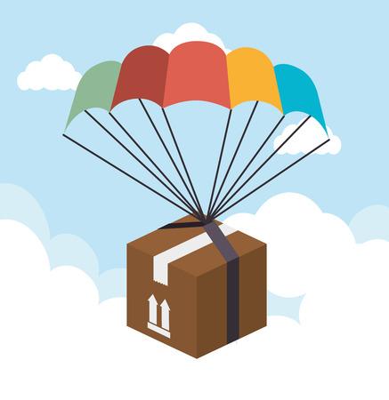 cloudscape: Delivery design over cloudscape background, vector illustration. Illustration