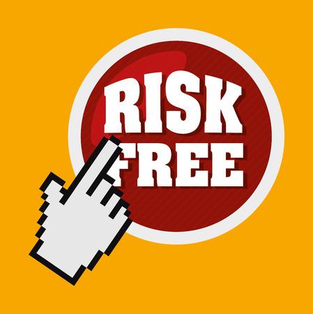 premium member: Risk free design over yellow background, vector illustration.