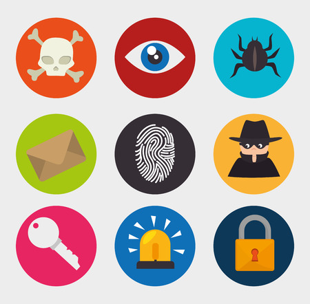 covering eyes: Securiy system design over white background, vector illustration.