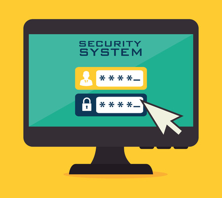 Security system design over yellow background, vector illustration.