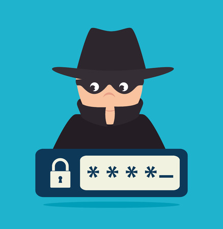 spyware: Security system design over blue background, vector illustration.
