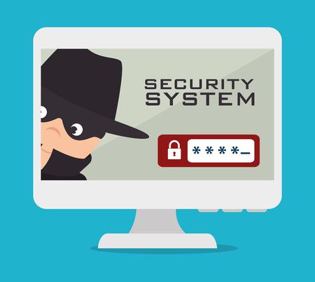 Security system design over blue background, vector illustration.