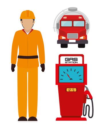 fuel truck: Petroleum industry design over white background, vector illustration. Illustration
