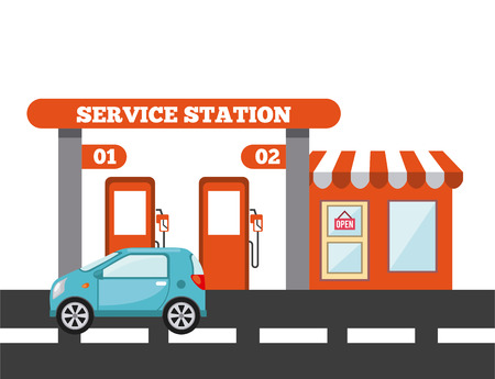 service station design, vector illustration eps10 graphic Vektorové ilustrace
