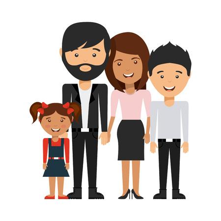 familias unidas: diseño de la familia feliz, ejemplo gráfico del vector eps10