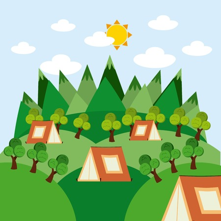camping concept design, vector illustration eps10 graphic Illustration
