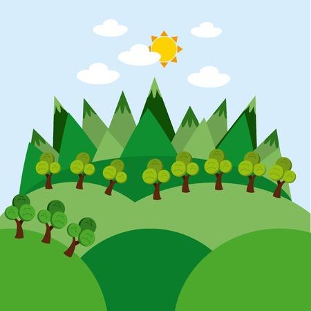 clear sky: eco landscape design, vector illustration eps10 graphic