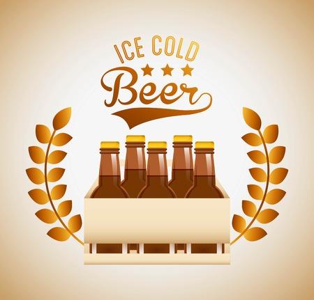 gold leafs: cold beer design, vector illustration eps10 graphic Illustration