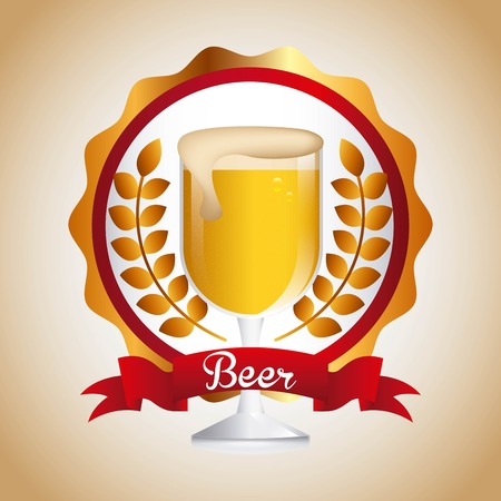 gold leafs: cold beer design, vector illustration eps10 graphic Illustration