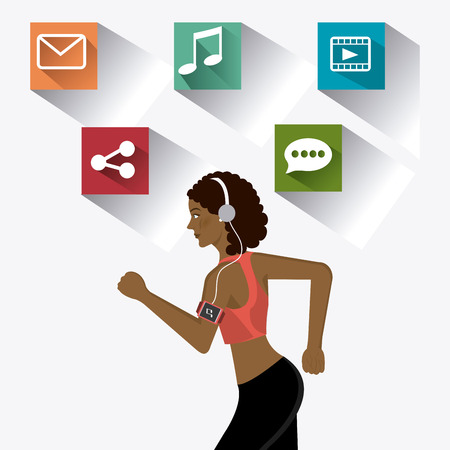 Fitness design over white background, vector illustration. Vector