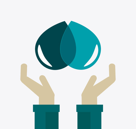 water hand: Ecology design over white background, vector illustration.