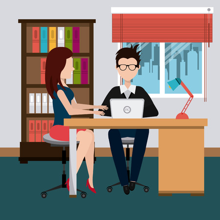 scene: Office design over office scene background, vector illustration.