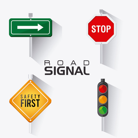 metal sign: Road signals over white background, vector illustration.