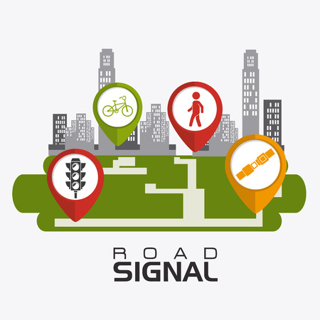 signals: Road signals over white background, vector illustration.
