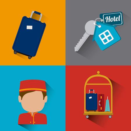 foreigner: Hotel design over colorful background, vector illustration.