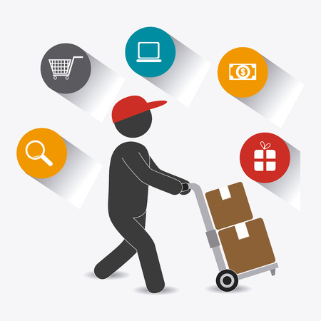 search box: Delivery design over white background, vector illustration.
