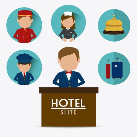 foreigner: Hotel design over white background, vector illustration.