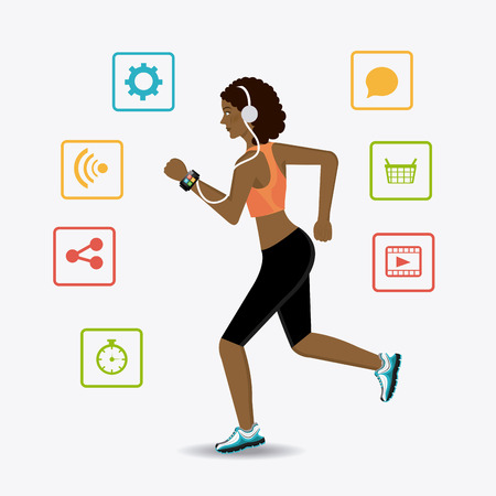 time sharing: Fitness design over white background, vector illustration.