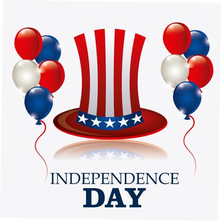 emblem red: Independence day design over white background, vector illustration.