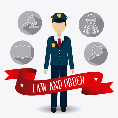 tribunal: Law design over white background, vector illustration. Illustration
