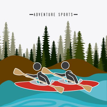 surf team: Extreme sport design over landscape background, vector illustration.
