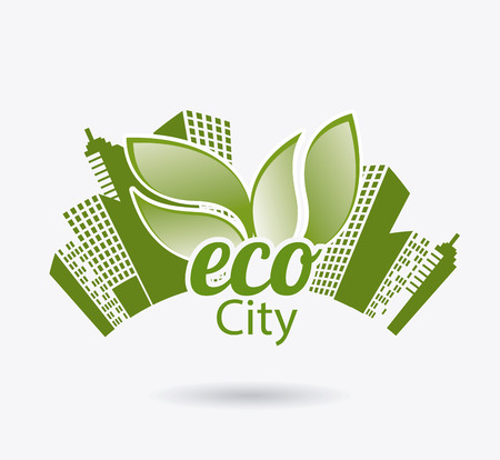 edifice: Ecology design over white background, vector illustration.