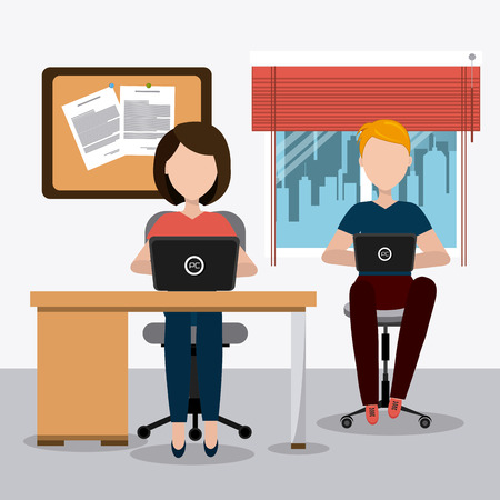 Office design over office scene background, vector illustration. Vektorové ilustrace