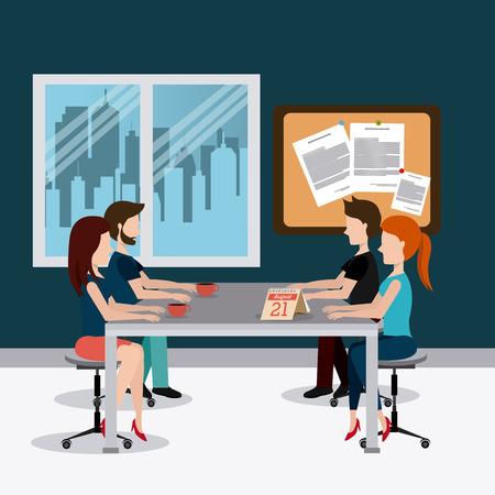 articulos oficina: Diseño de oficinas sobre escena de la oficina de fondo, ilustración vectorial. Vectores