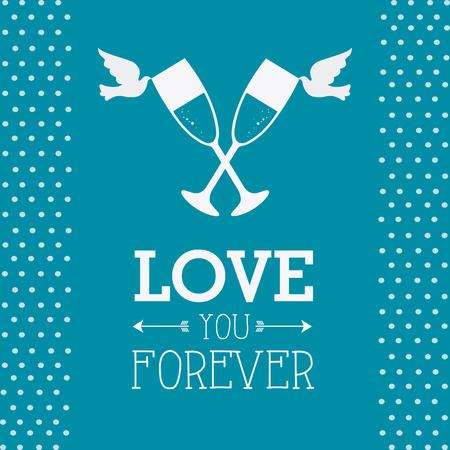 diving save: Wedding card design over blue background, vector illustration.