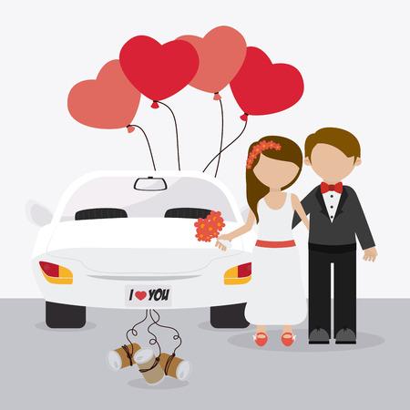 Diseño de la tarjeta de boda sobre fondo blanco, ilustración vectorial.