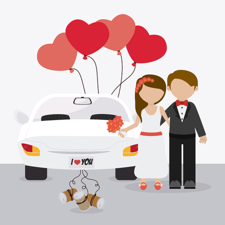 concept car: Wedding card design over white background, vector illustration.