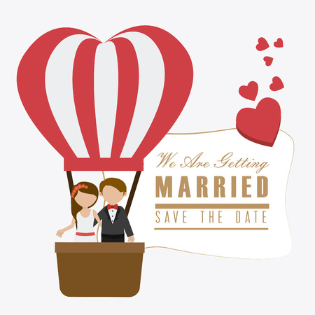 hot couple: Wedding card design over white background, vector illustration.