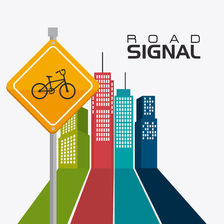 signals: Road signals over cityscape background, vector illustration.