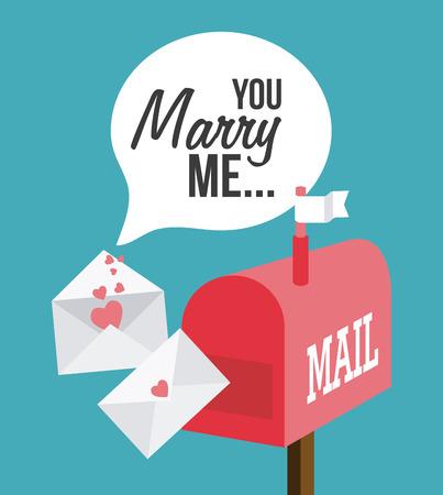 mail me: Wedding card design over blue background, vector illustration.