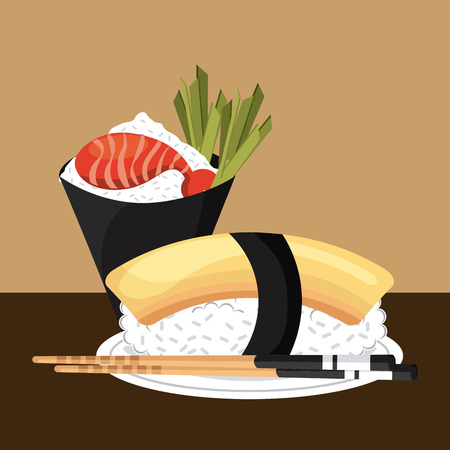 traditionally: delicious sushi design, vector illustration  graphic Illustration