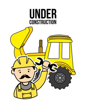 tractor warning: under construction design, vector illustration graphic