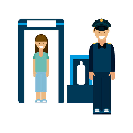 xray machine: checkpoint airport design, vector illustration graphic