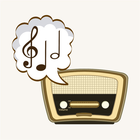 retro radio: music player design, vector illustration graphic