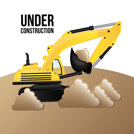 tractor warning sign: under construction design, vector illustration graphic