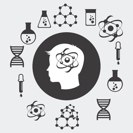 biomedical: disegno laboratorio scientifico, illustrazione grafica vettoriale