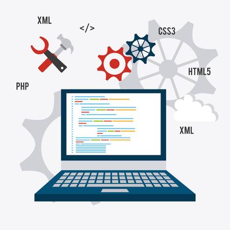 product information: Software design over white background, vector illustration. Illustration